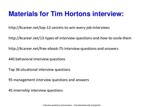 tim hortons baker resume sle tim hortons questions and answers