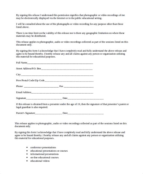 free talent release form generic talent release form ten ways on how to get the most