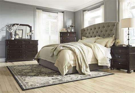 upholstered bedroom set gerlane graphite upholstered panel bedroom set b657 74 77