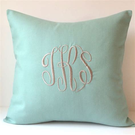 monogrammed pillows 18 x 18 throw pillow cover personalized