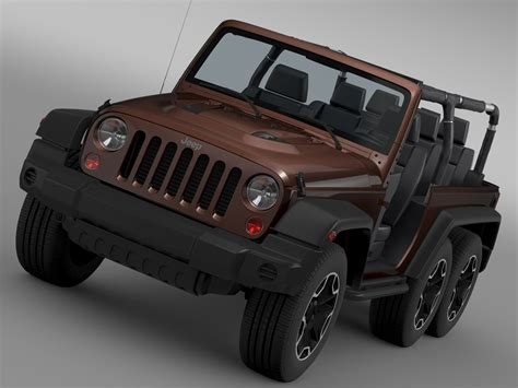 Jeep Wrangler Rubicon 3 0 jeep wrangler rubicon 6x6 2016 3d model max obj 3ds