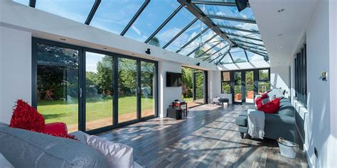 large orangery   sets  aluminium bi folding doors