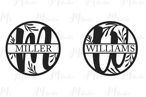 floral split monogram letters svg  cut files design bundles