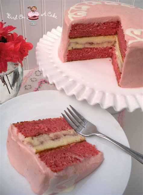 strawberry cheesecake cake bird on a cake strawberry swirl cheesecake cake