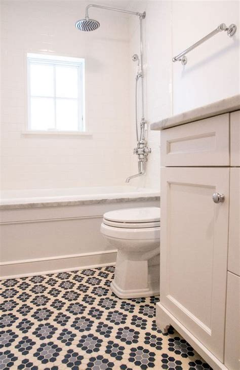 Mosaic Bathroom Floor Tile Ideas by Colorful Patterned Mosaic Tile Floor In Neutral Bathroom