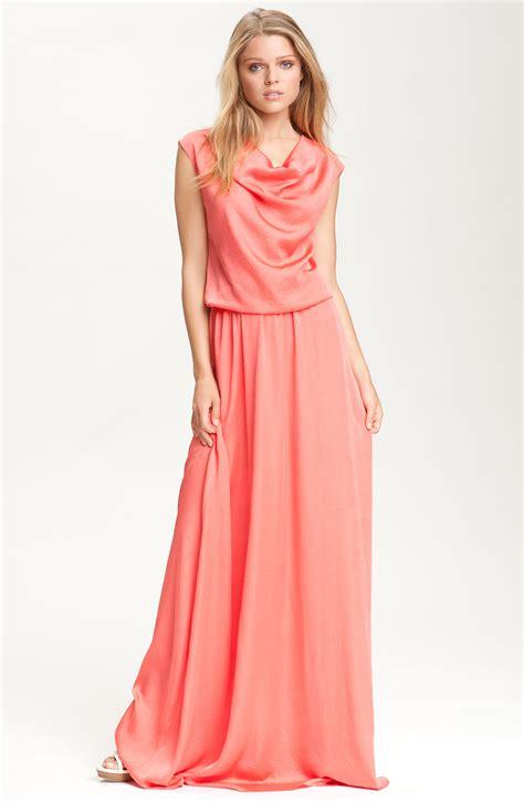 draped maxi dress robert rodriguez draped neck maxi dress in pink coral lyst