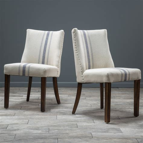 rydel blue stripe fabric dining chairs set of 2 gdf studio
