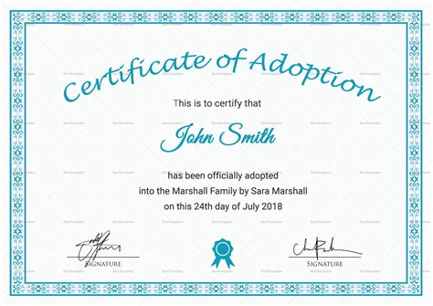 Blank Adoption Certificate Template by Adoption Certificate Template Free Chlain