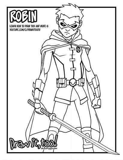 Robin Coloring Damian Wayne Comic Pages Drawing