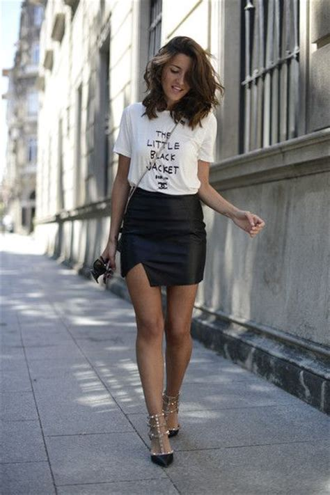 32 best Tee u0026 Leather Skirt - Women Style Inspiration images on Pinterest | Go outside Leather ...