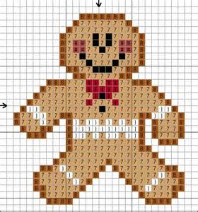 Gingerbread Man Cross Stitch Pattern