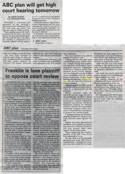 Foster's Daily Democrat  Abc Plan  June 4, 1998 Joshua