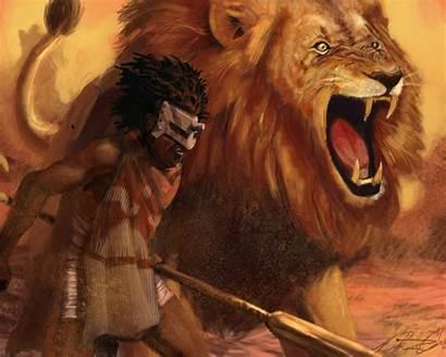 African Warrior Warriors Lion Fantasy Roar Wallpapers