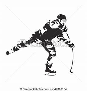 Shooting ice hockey player, abstract vector silhouette ...