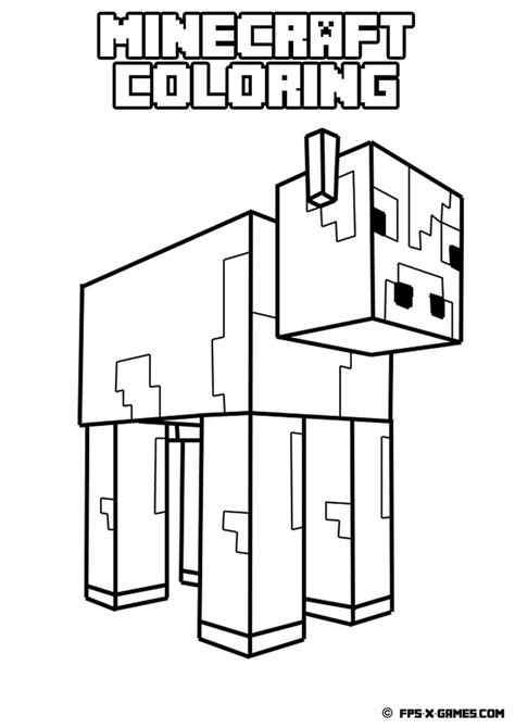 Minecraft Coloring by Printable Minecraft Coloring Cow Creeper Minecraft