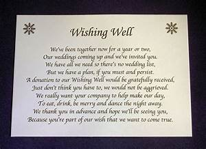 personalised small wedding wishing well poem cards money With wedding invitation inserts asking for money