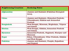 List of India's neighbouring countries with Map