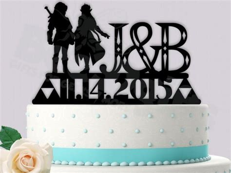 Link And Zelda Gamer Cake Topper Legend Of Zelda Wedding