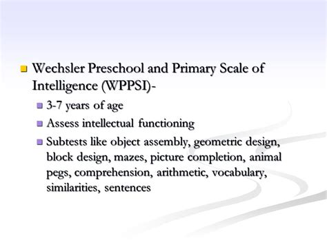 the wechsler preschool and primary scale of intelligence intelligence testing ppt 832