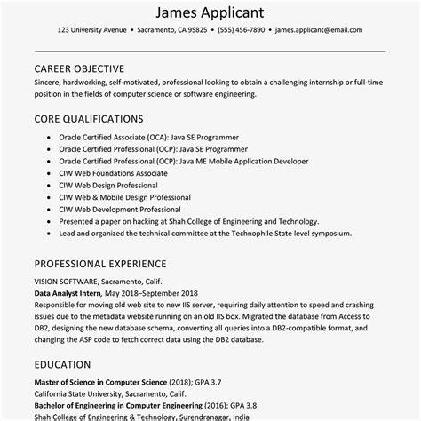 sample resume  experienced  grad