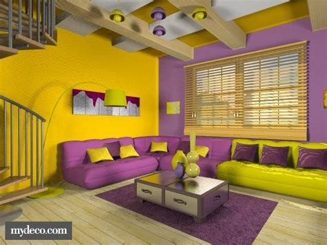This Yellow And Purple Room Is Very Cool. The Colors Are