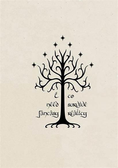 Lord Rings Tree Gondor Tattoo Elves Graphic