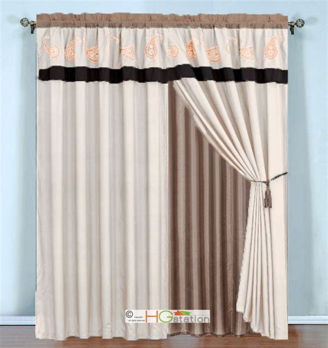 4 pc paisley floral embroidery curtain set brown khaki