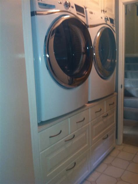washerdryer stand traditional laundry room san diego