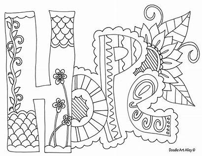 Word Coloring Pages Doodle Hope Alley