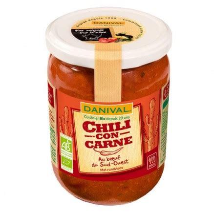 plat cuisiné bio chili con carne 525 g danival