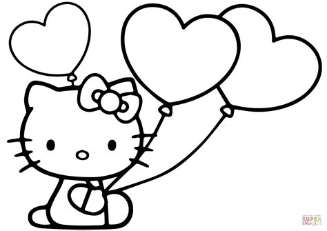 Hello Kitty With Heart Balloons Coloring Page Free