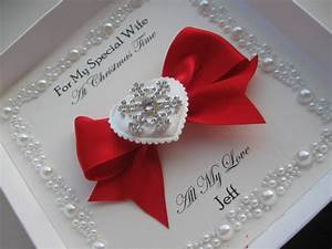Luxury Handmade Christmas Card - With Without Box - Wife