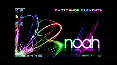 photoshop elements  neon rainbow background part  text