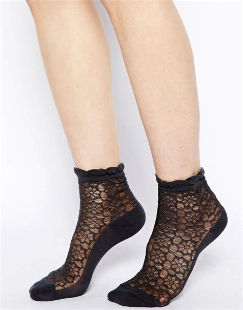Floral Sheer Socks asos asos sheer floral front ankle socks at asos