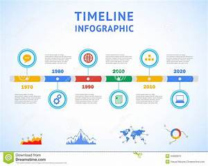 Timeline Infographic With Diagrams And Text Stock Vector