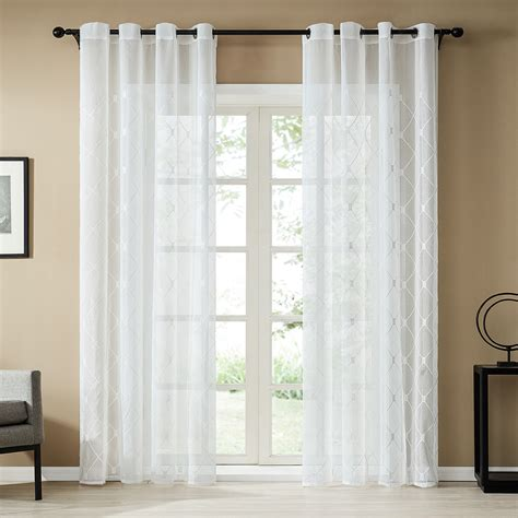 topfinel white sheer curtains 96 inches embroidered