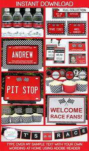 Race Car Party Printables, Invitations & Decorations