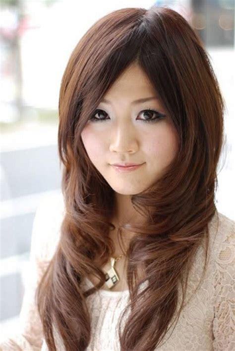 asian long hairstyles  side bangs  dark brown hair