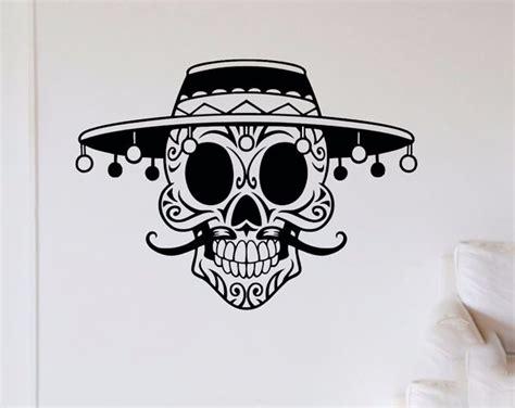 Adesivo De Parede Caveira Mexicana Mustache Quarto Sala