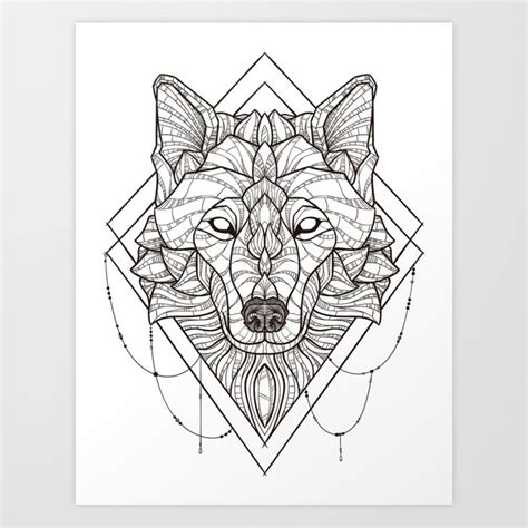 Geometric Wolf Phone Wallpaper by Geometric Wolf Print By Psydrian Society6