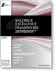 baldrige excellence framework education nist