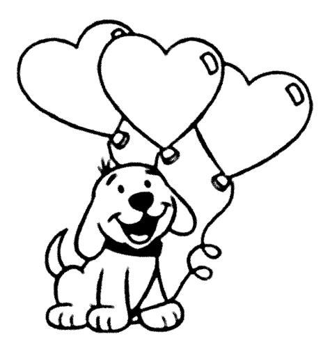 gambar anak anjing dan balon untuk diwarnai