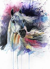 Horse Art Watercolor Painting