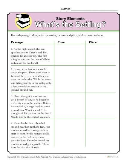 story elements worksheet what s the setting drawing