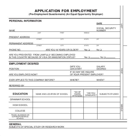 application for employment form template business