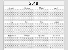 2018 Yearly Monthly Calendar Template Excel Word