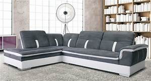 canape d39angle a gauche galaxy blanc microfibre grise With tapis moderne avec canape angle microfibre taupe