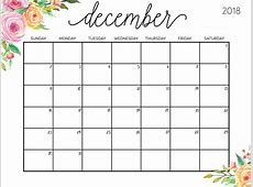 2018 Free December Calendar PDF,Excel,Word Download