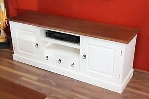 Sideboard Braun Weiß : sideboard tv hifi cd schrank holz massiv wei braun landhaus ~ Markanthonyermac.com Haus und Dekorationen