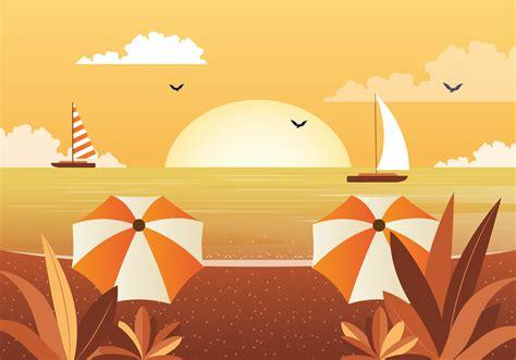 Vector Beautiful Seascape Illustration 225482 - Download ...